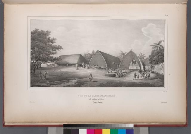 Vue de la place principale. du village de bea. Tonga-Tabou.