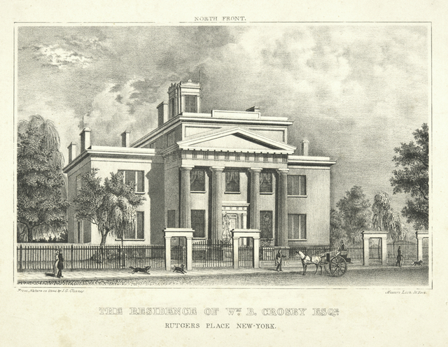 The residence of Wm. B. Crosby Esqr. Rutgers Place New-York.  North front.