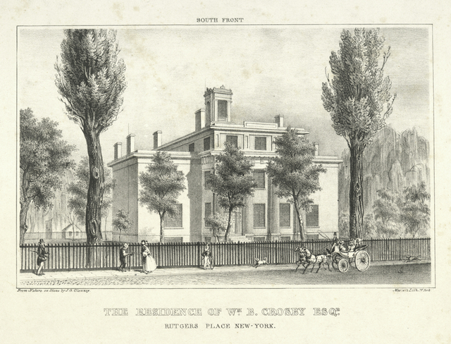 The residence of Wm. B. Crosby Esqr. Rutgers Place New-York.  South front.