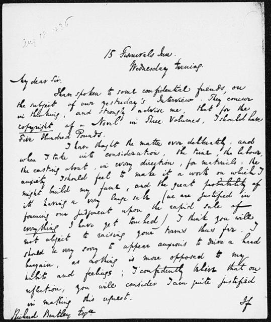Bentley, Richard.  ALS to [1836 Aug. 17]
