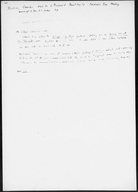 Bentley, Richard.  ALS to [1836 Dec. 5?]
