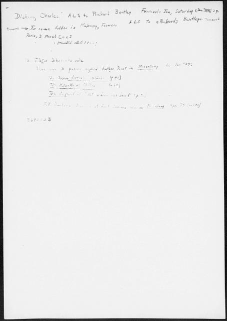 Bentley], [Richard].  ALS to [1836 Dec.]