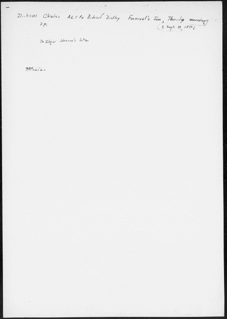 Bentley, Richard.  ALS to [1836 Sept. 29]
