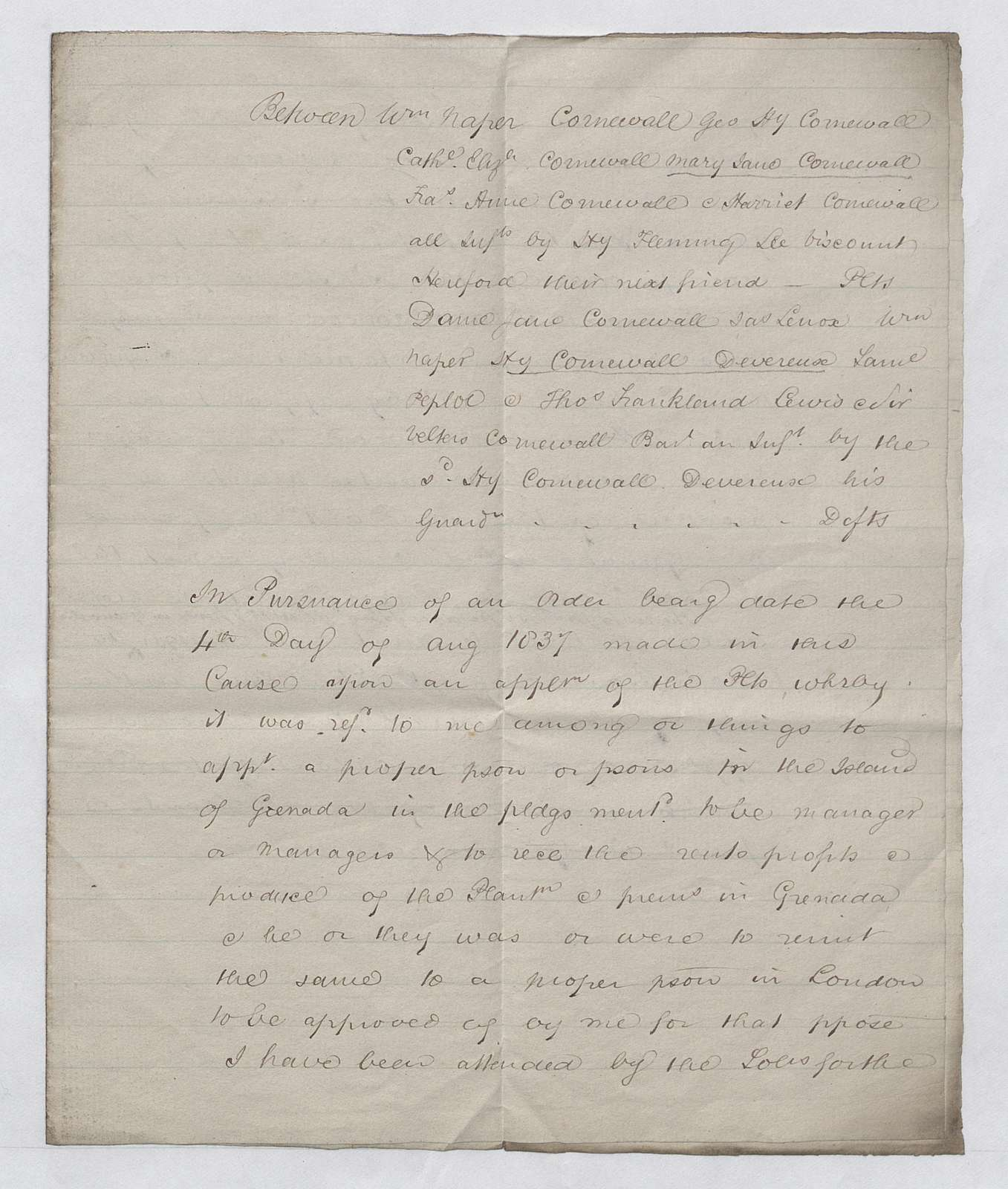 Messrs. Addie & Co. report approving manager of Estate of Grenada in pursuance of an order dated August 4, 1837