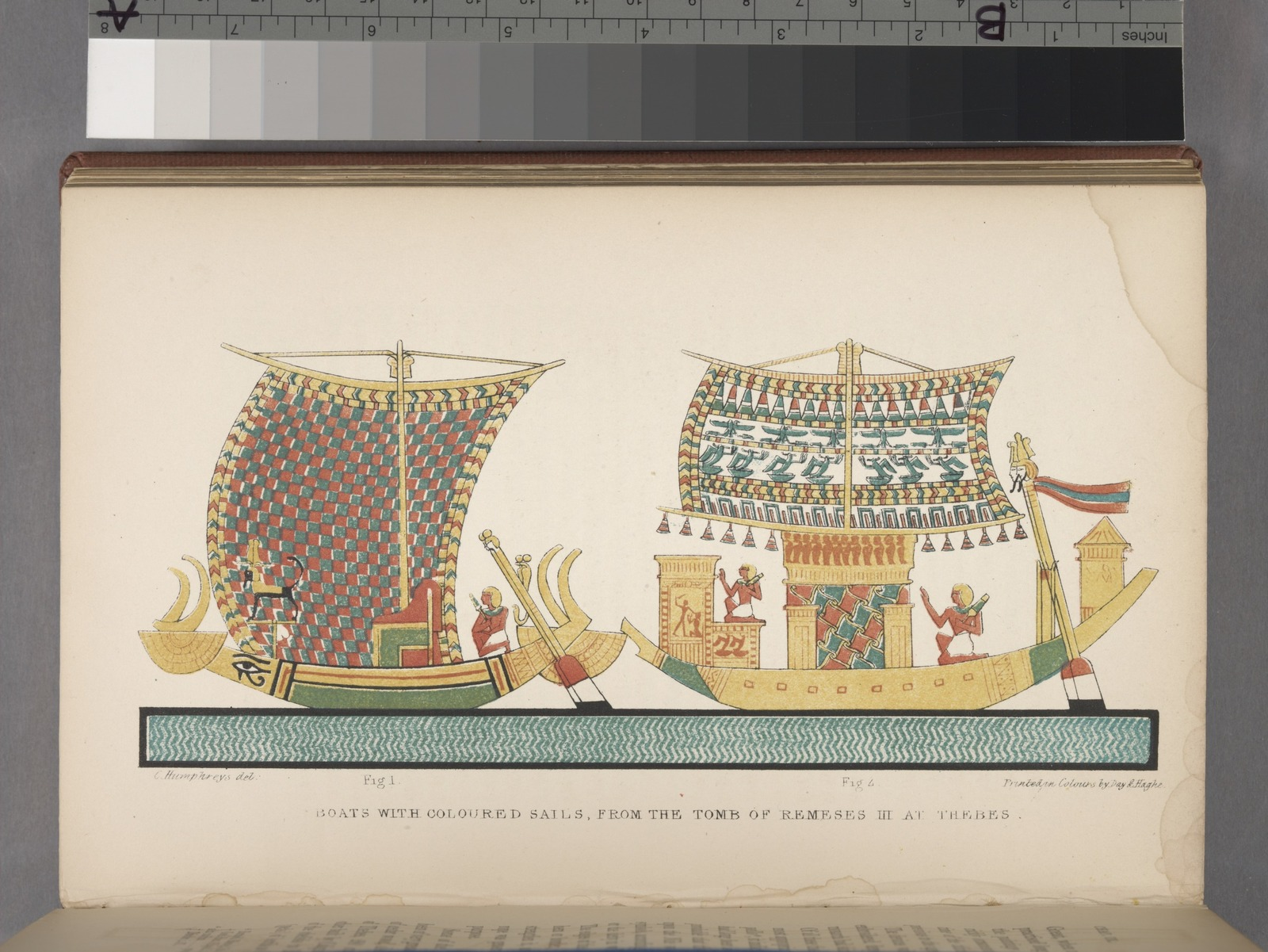 Boats with coloured sails, from the Tomb of Remeses III at Thebes.