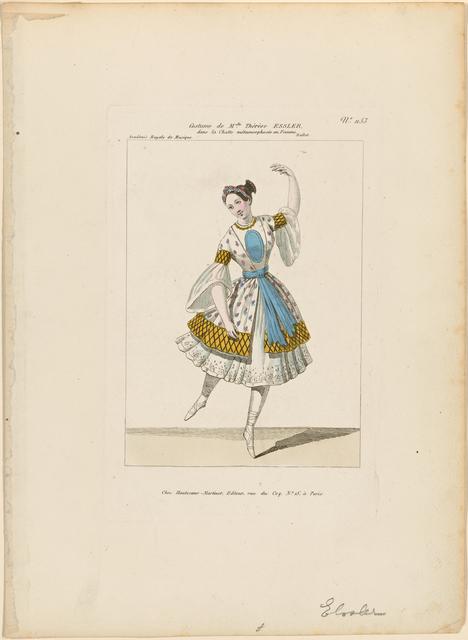 Costume de Melle Thérèse Essler [sic] dans La chatte metamorphosée en femme. Ballet. Académie Royale de Musique.