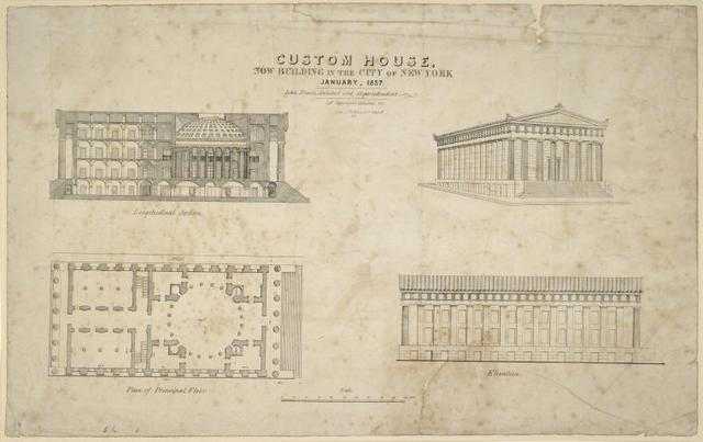 Custom House, now building in the City of New York, January, 1837