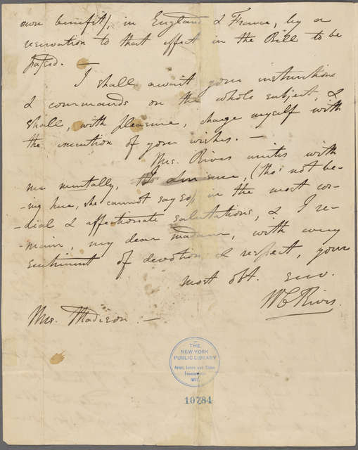 Letter from William Cabell Rives to Dolley Madison