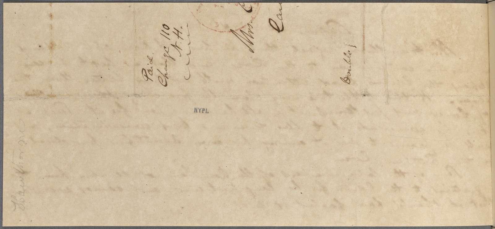 [Gilman, Mrs. Caroline Howard], AL to. Dec. 27, 1838.