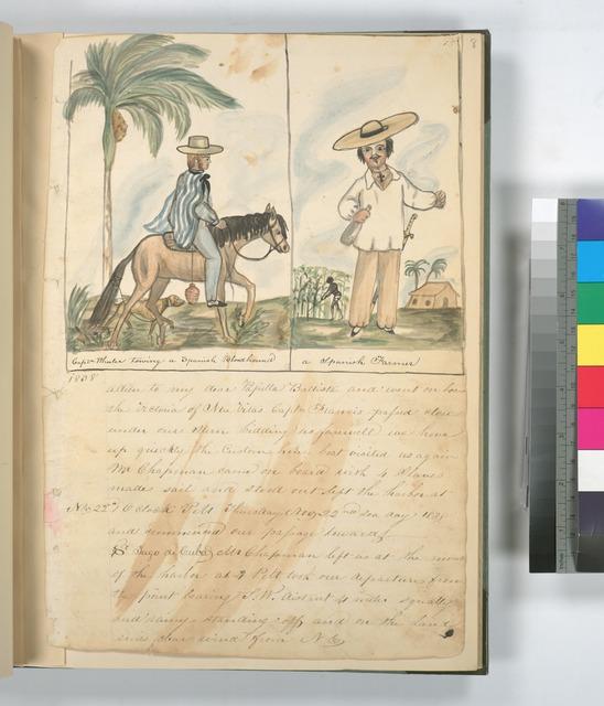 Captn Wheeler towing a Spanish Bloodhound ; A Spanish Farmer.