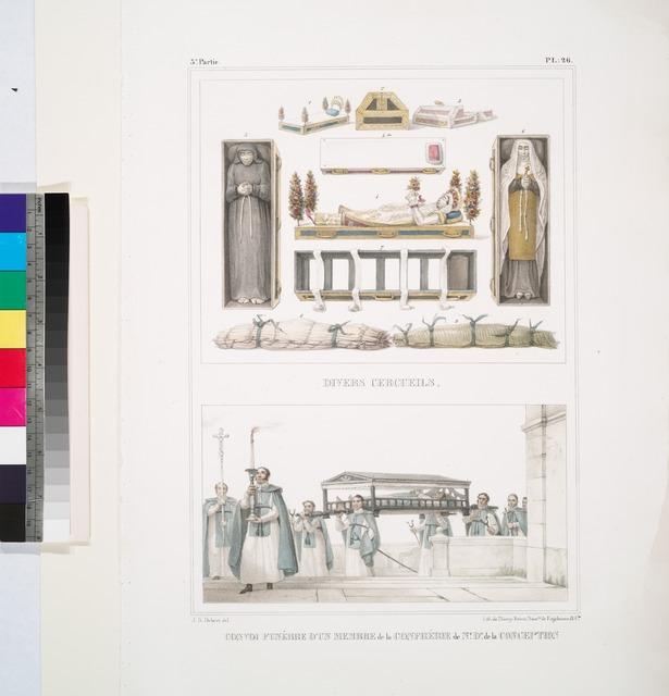 Divers cercueils; Convoi funèbre d'un membre de la confrérie de Notre-Dame de la Concéption.