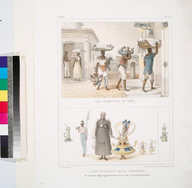 Les étrennes de Noël [above]; Ange revenant de la procession. Un domestique nègre rapportant la palme de son maître, le Dimanche des Rameaux [below].