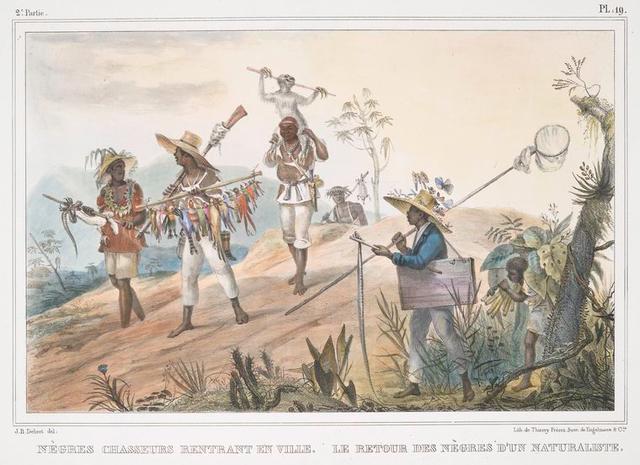 Nègres chasseurs rentrant en ville [left]. Le retour des nègres d'un naturaliste [right].