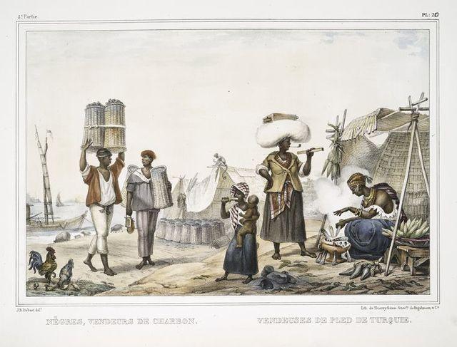 Nègres, vendeurs de charbon. Vendeuses de pled (blé) de Turquie.