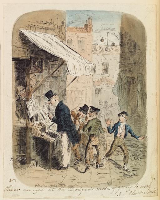 Oliver Twist. Cruikshank, George. 2 original water color drawings n.d. pictorial works ( 2 items )
