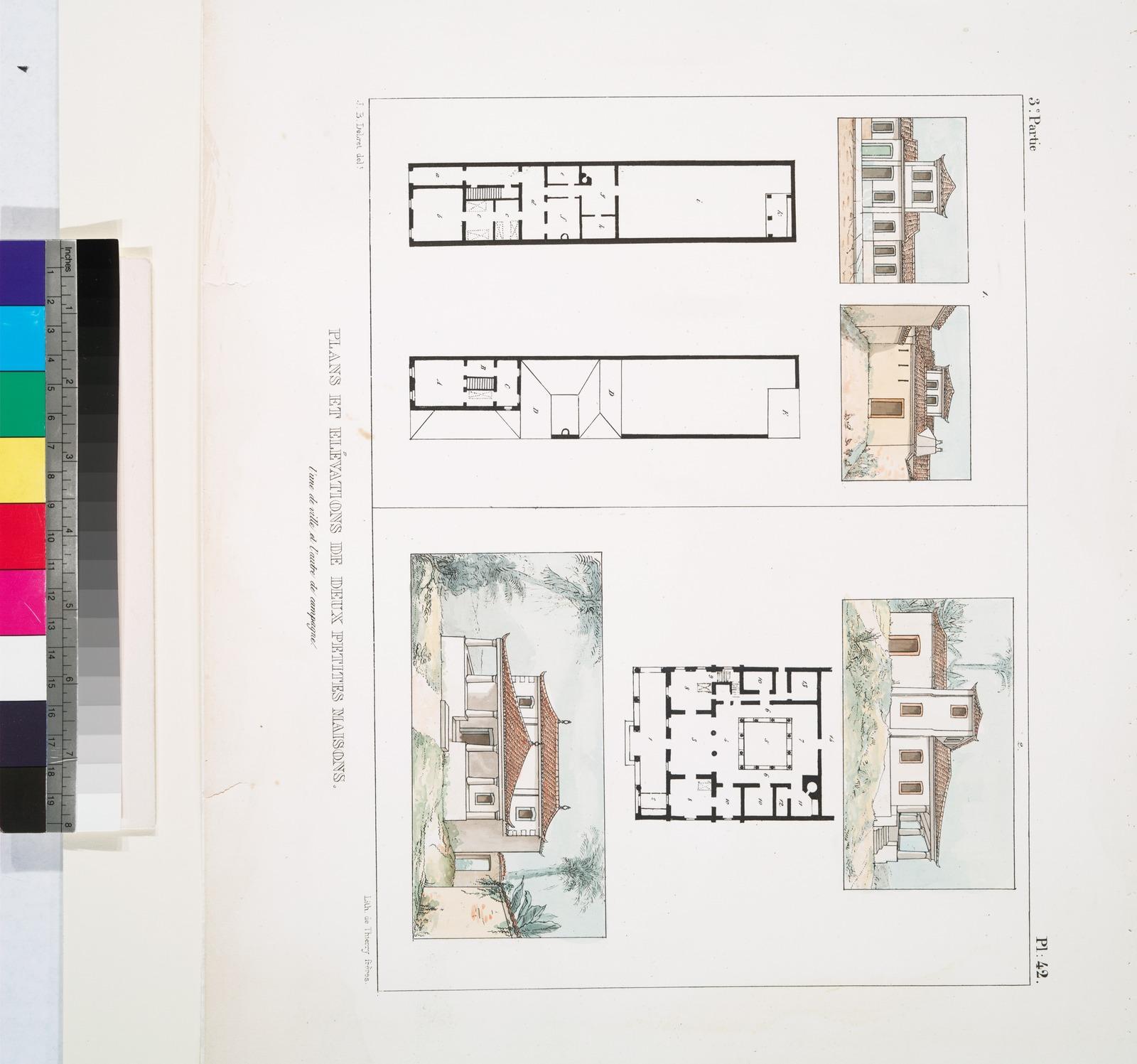 Plans et élévation de deux petites maisons: l'une de ville et l'autre de campagne.