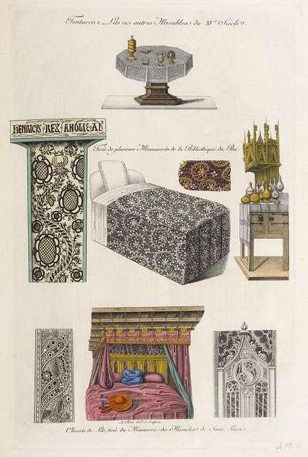Tentures, lits et autres meubles du XVe. siècle. Tirés de plusieurs manuscrits de la bibliothèque du roi. Chevets de lits, tirés du manuscrit des miracles de Saint Louis.