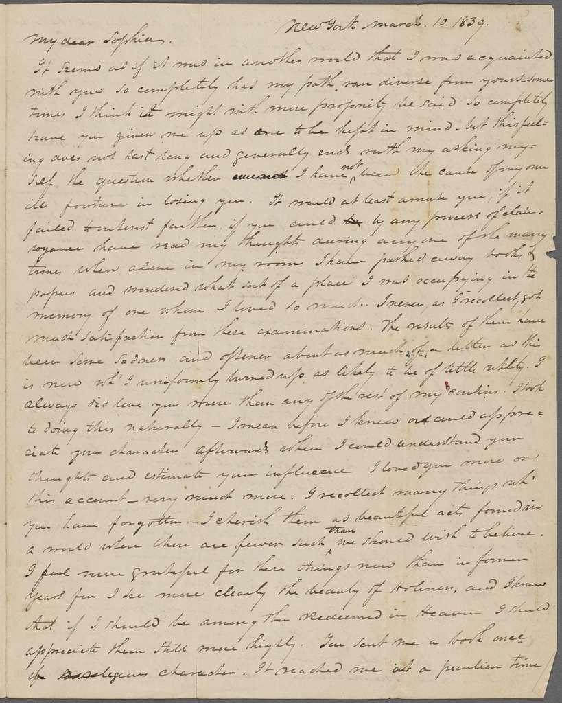Tyler, G. P., ALS to SAPH.  Mar. 10, 1839.