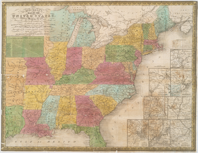 Mitchell's map of the United States : showing the principal travelling turnpike and common roads, on which are given the distances in miles from one place to another, also the courses of the canals & rail roads throughout the country, carefully compiled from the best authorities.
