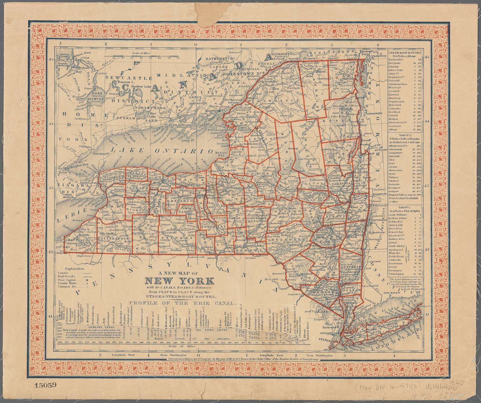 A new map of New York: with its canals, roads & distances from place to place along the stage & steam-boat routes