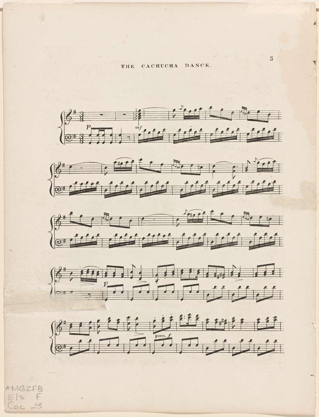 La cachucha as danced by Fanny Elssler,: arranged for the piano forte