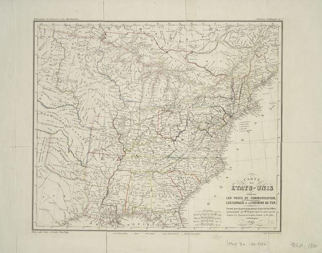 Carte des états-unis indiquant les voies de communication, et principalement les canaux et les chemins de fer