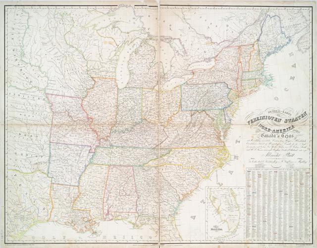 General-Karte der Vereinigten Staaten von Nord Amerika, nebst den grösst. Theilen von Canada & Tejas : mit Bezeichnung sämmtlicher Cantons, deren Haupt-u. Handelstädte, Eisenbahnen, Kunst- & Hauptstrassen, Canäle etc. etc.