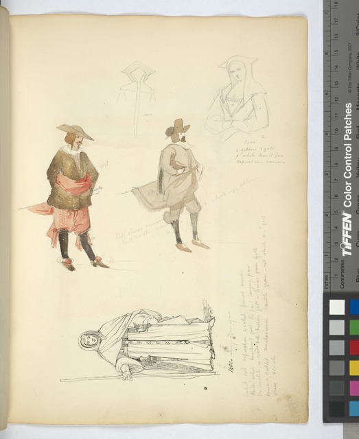 Half length study of a woman,] 1400; [Man in breeches, sash, pointed shoes, stockings, and hat]; [A monk in his habit,] 1400.
