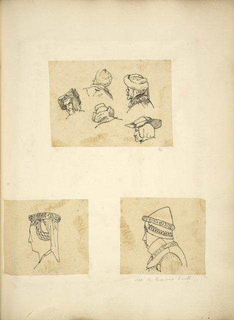 [Heads in hats: Five men in various styles; Woman in circlet with train; Man in armored head piece.]