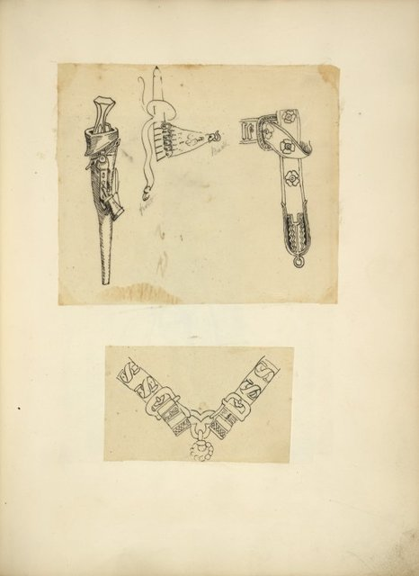 [Knife in a sheath, belt with attachment and hook, belt buckle; Two buckles joined with ornamental hardware.]