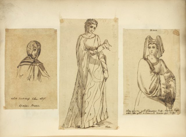 [Person in  headdress, upper body view] Spain, MCCCC; [Woman in long dress and tiara,] MCC; [Woman viewed half length in head piece with veil,] MCCC.