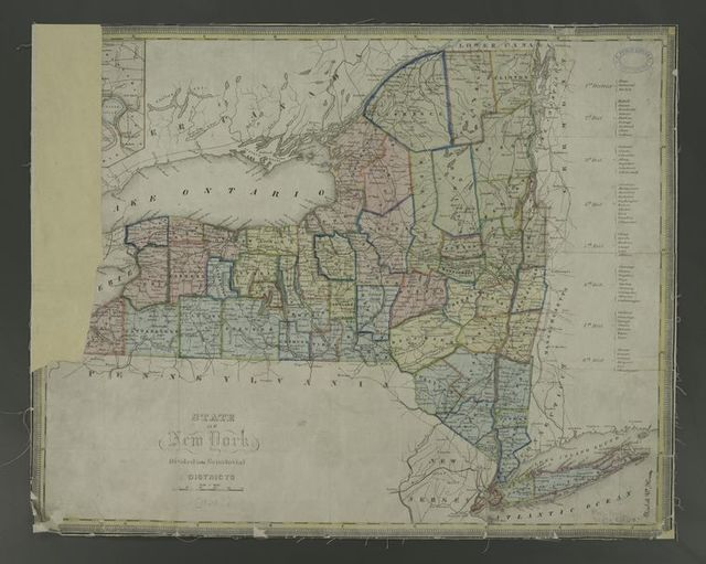 State of New York divided into senatorial districts.