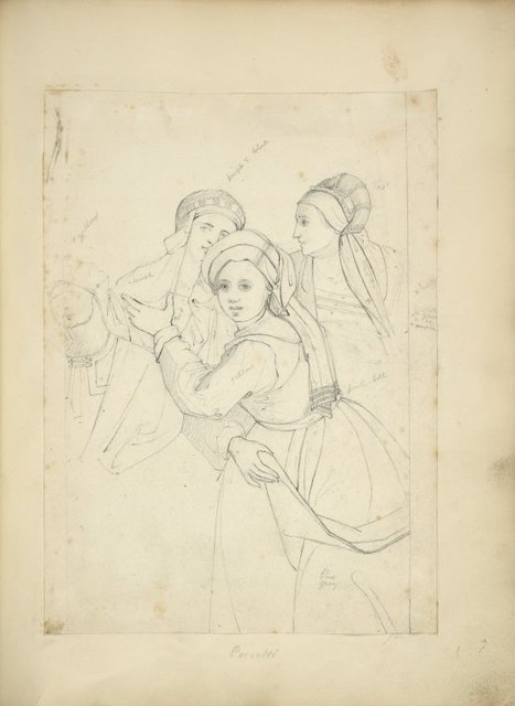 Three women in hats with trains viewed half length, a fourth figure partially sketched.