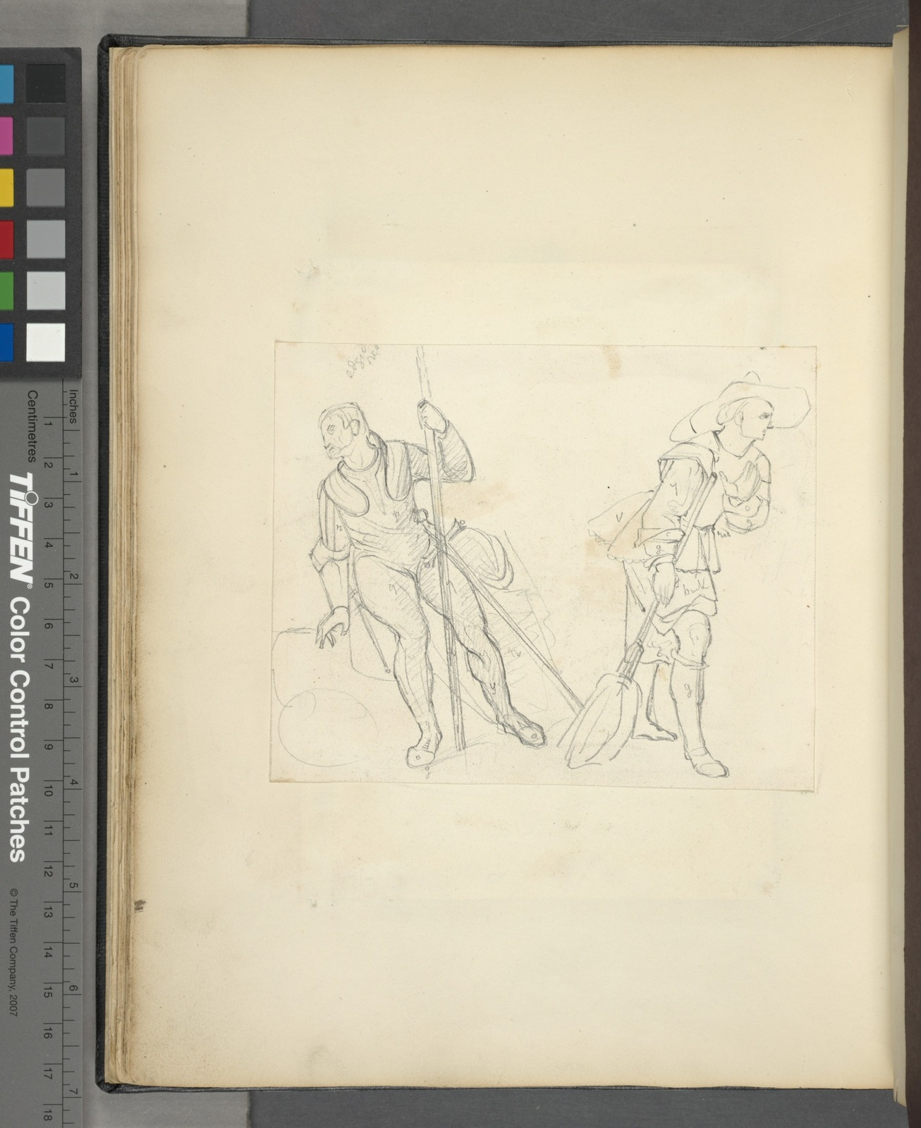 Two figures with various aspects of their garments diagrammed.