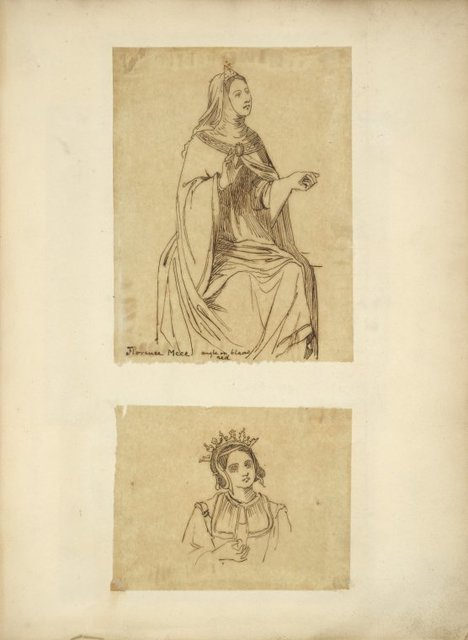 [Woman in cape and cowl,] Florence, MCCC; [Woman wearing head piece.]