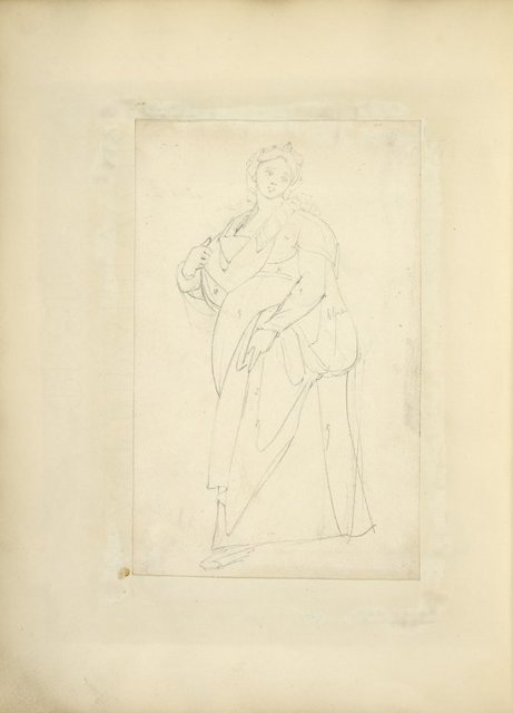 [Woman in head piece and long dress with sling about her neck, possibly for infant.]