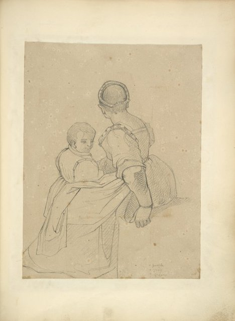 Woman with back turned toward viewer with boy on her lap.