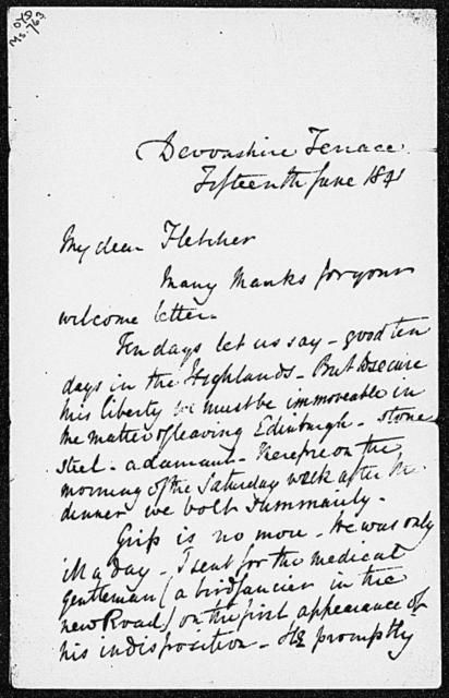 Fletcher, Angus. ALS to 1841 June 15
