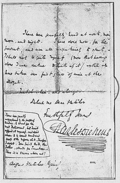 Fletcher, Angus. ALS to. Relates to the death of Grip, the raven in Dickens' Barnaby Rudge. With typewritten passage from the book dealing with the raven 1841 June 15