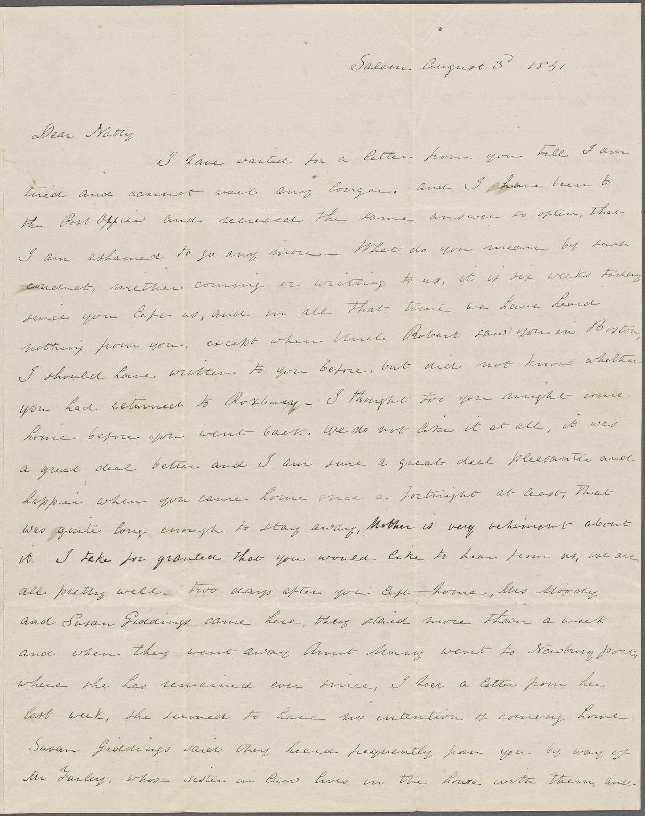 Hawthorne, Maria Louisa, ALS, to NH. Aug. 3, 1841.