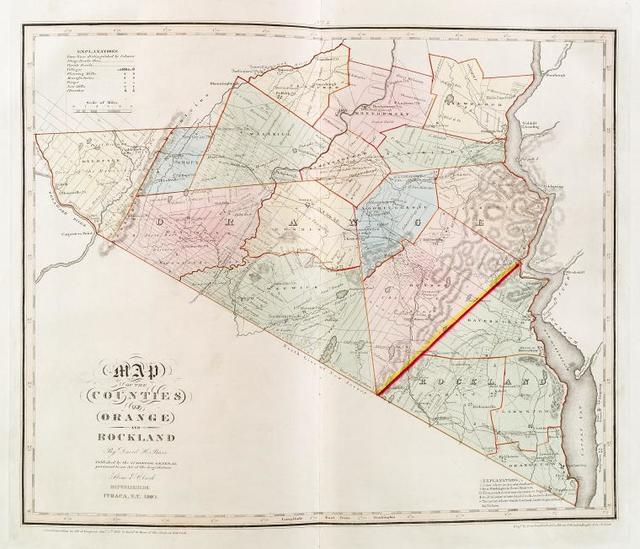 Map of the counties of Orange and Rockland