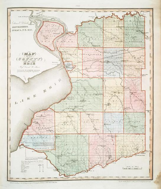 Map of the county of Erie