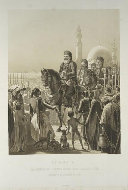 Mehemet Ali, Ibrahim Pacha, Soliman Pacha (Seve) et leur suite. Montant a la citadelle du Caire.