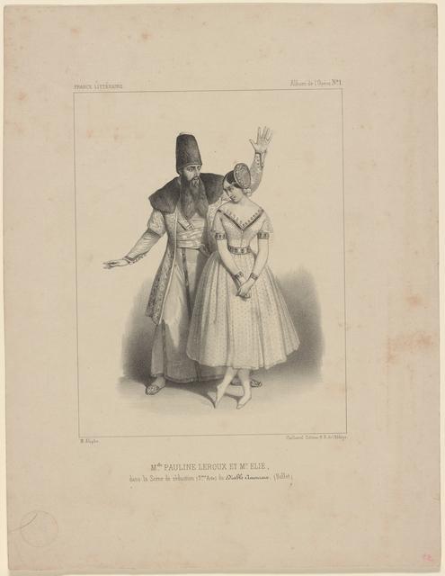 Melle. Pauline Leroux et Mr. Elie, dans la scène de séduction (3eme. Acte) du Diable amoureux. (Ballet). [Lithograph] M. Alophe.