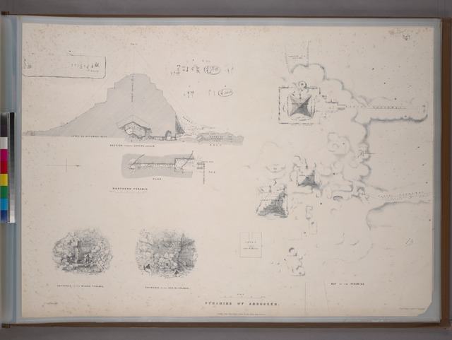 Pyramids of Abooseer [Abouseir]: map, section, plan, views, and hieroglyphics.