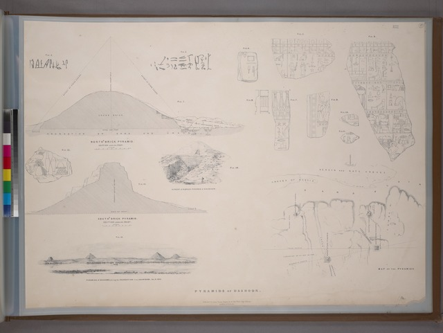 Pyramids of Dashoor: map, views, sections of northern and southern brick pyramids, and hieroglyphics.