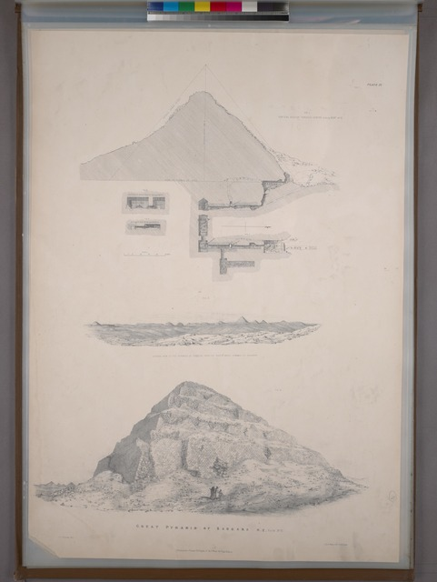 Pyramids of Saccara: section and plans of No. 2 in map, central view of the pyramids, and view of the Great Pyramid, No. 3.