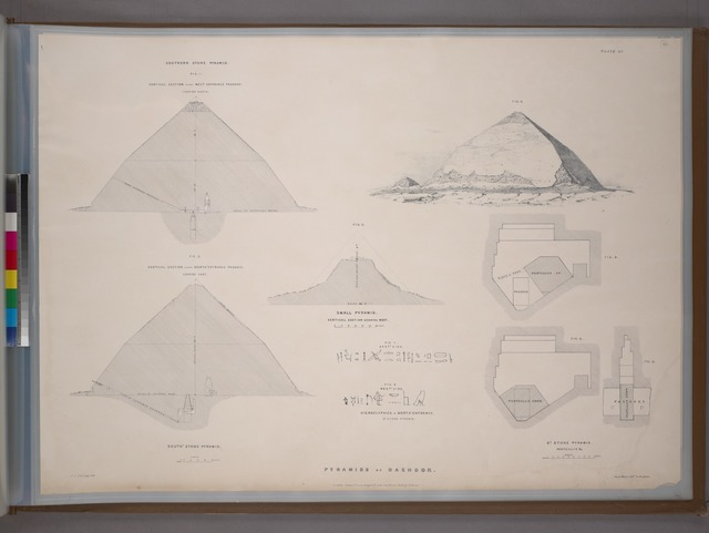 Southern and small stone pyramids of Dashhoor: view, plans, sections, and hieroglyphics.