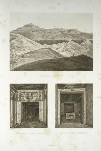 Thèbes, vue de la vallée des tombeaux; Thèbes, entrée du tombeau de Rhamsès-Meimoun; Thèbes, intèrieur du tombeau de Rhamsès VI