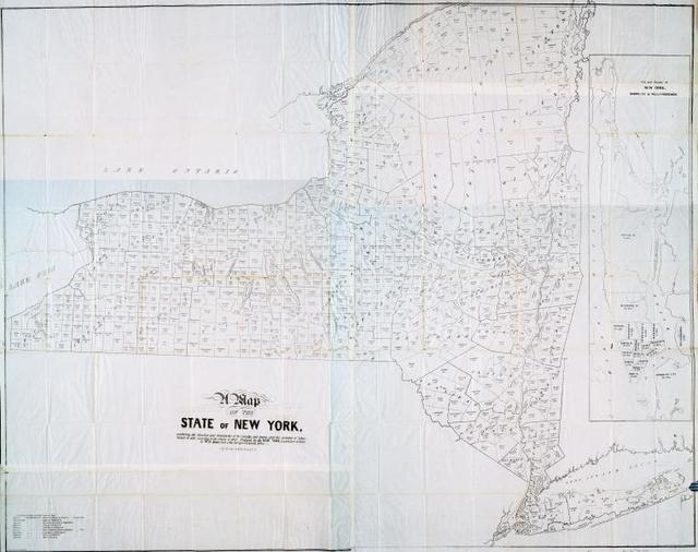 A map of the State of New York : exhibiting the situation and    boundaries of the counties and towns, and the number of        inhabitants in each, according to the census of 1840 ...